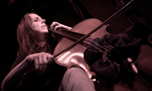 Lori Goldston performs solo before joining Earth on cello