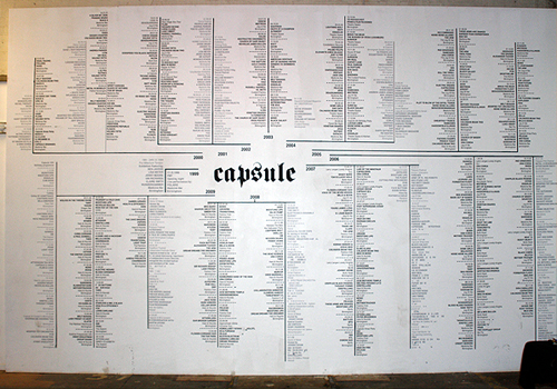 10 years of Capsule, all on one wall